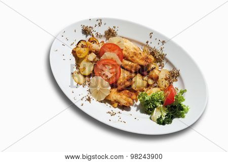 Breaded Coalfish Fillet With Fried Potatoes In Plate On White Background