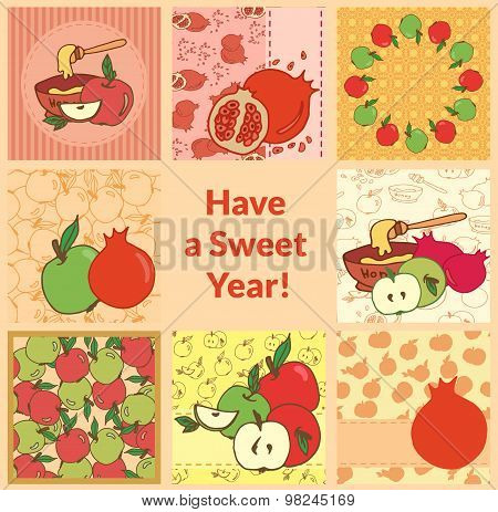 Rosh Hashana Greeting Card Set