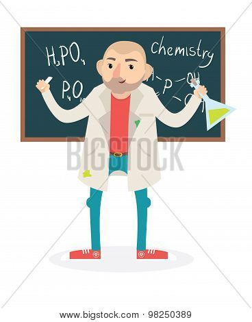 Flat Funny Vector Chemistry Teacher. Vector Illustration