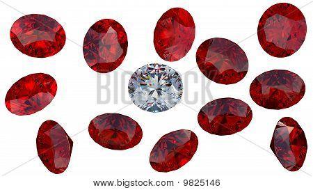 Large Diamond Among Red Rubies