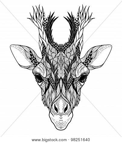 Psychedelic Giraffehead tattoo. vector illustration