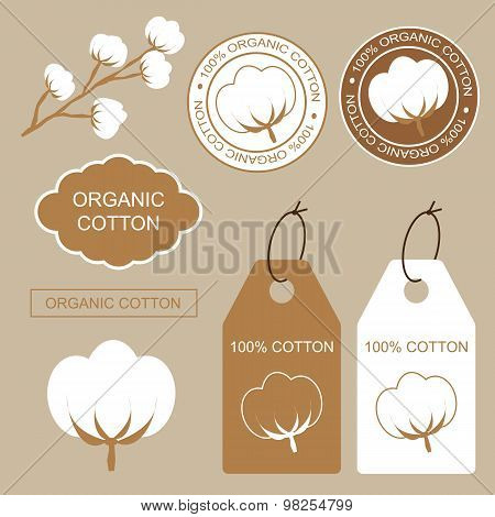 Stickers And Labels With Cotton.