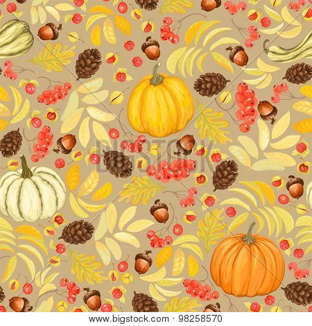 Autumn seamless background with pumpkins, acorns, pine cones, rowan and Oriental Bittersweet, vector illustration.