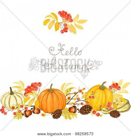 Holiday autumn banner with pumpkins, oriental bittersweets, acorns, pine cones and rowan.