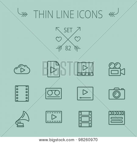 Multimedia thin line icon set for web and mobile. Set includes- phonograph, video camera, clapboard, film, strips, cloud, cassette, tape, arrow, forward icons. Modern minimalistic flat design. Vector