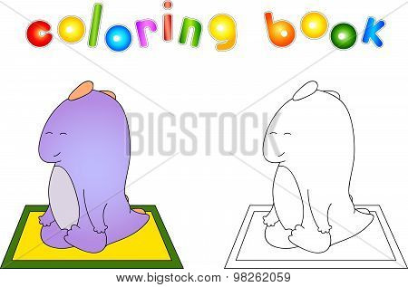 Crummy Bellied Dragon Doing Yoga Exercises. Coloring Book About Healthy Lifestyle For Children