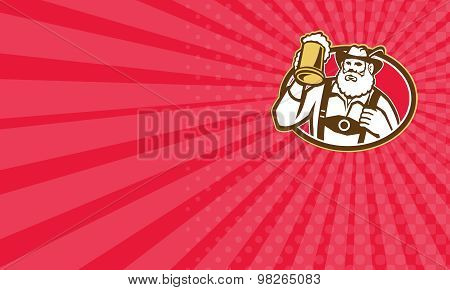 Business Card Bavarian Beer Drinker Mug Retro