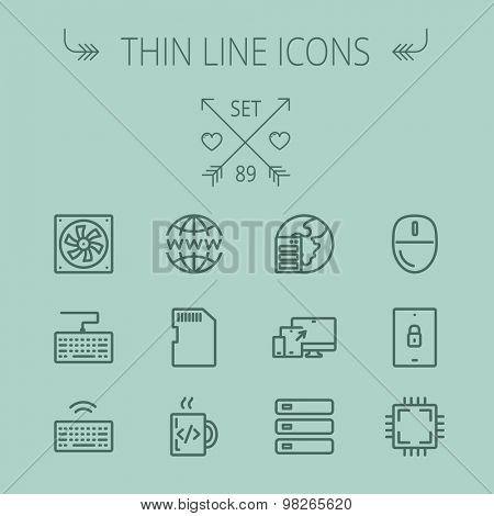 Technology thin line icon set for web and mobile. Set includes -simcard, computer cooler, keyboard, keyboard with wifi, optical drive, 3 devices, computer mouse, circuit board. Modern minimalistic