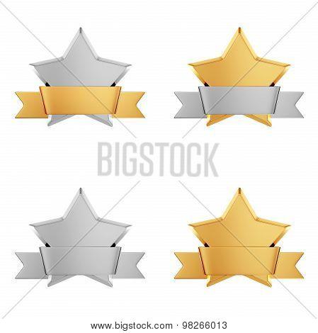 Set of gold stars awards