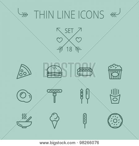 Food and drink thin line icon set for web and mobile. Set includes- pie, hotdog, egg, popcorn, ice cream, french fries cookies icons. Modern minimalistic flat design. Vector dark grey icon on grey