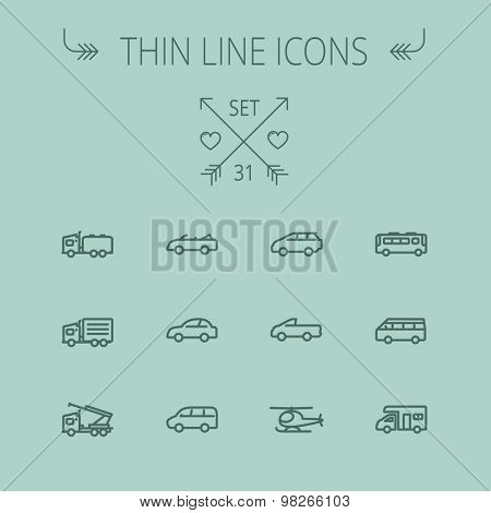 Transportation thin line icon set for web and mobile. Set includes- trucks, van, helicopter, bus, delivery  van, cars icons. Modern minimalistic flat design. Vector dark grey icon on grey background.