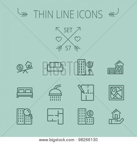 Real estate thin line icon set for web and mobile. Set includes- new house, dollar, locator pin, house structure, shower, sofa, house with garage, balancing house, money icons. Modern minimalistic poster