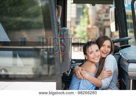 Attractive young women are enjoying their journey