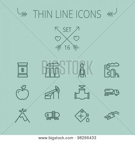 Ecology thin line icon set for web and mobile. Set includes- gas tank, truck, nozzle, container, pipe, valve, volcano, candle, factory, apple icons. Modern minimalistic flat design. Vector dark grey