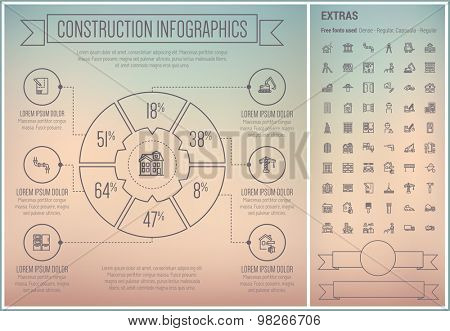 Construction infographic template and elements. The template includes the following set of icons - playhouse, crane, house sketch, oil noozle, window, door, bridge and more. Modern minimalistic flat