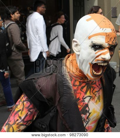 EDINBURGH - AUGUST 8: Member of Familia de la Noche publicize their show The Very Grey Matter of Edward Blank during Edinburgh Fringe Festival on August 8, 2015 in Edinburgh, Scotland