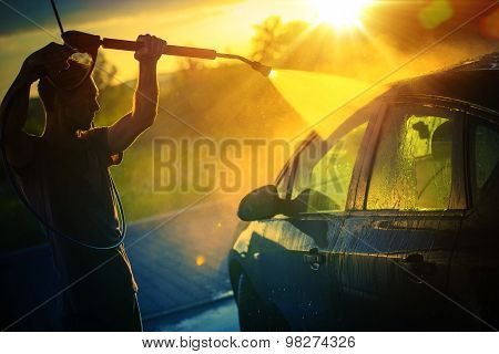 Car Washing At Sunset