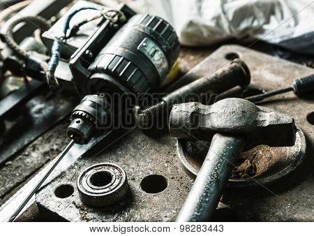 Drill machine, hammer and some mechanic tools