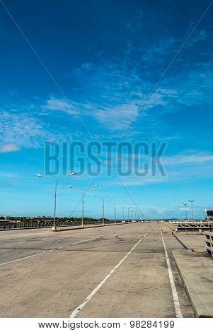 Scenery On Empty Road.