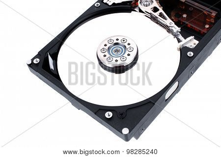 real open hard drive isolated on white ackground