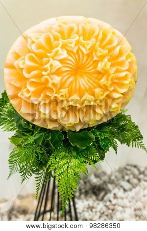Cantaloupe fruit carving.
