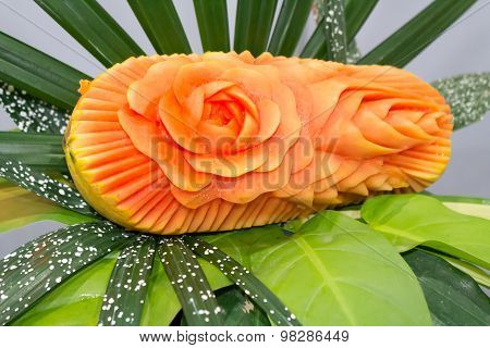 Papaya fruit carving.