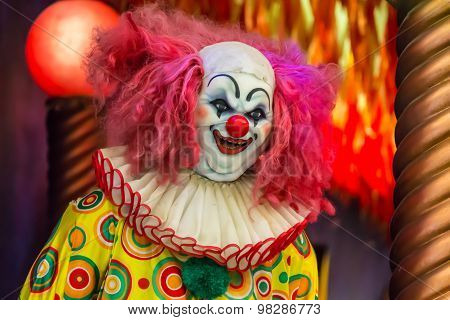 Evil Spooky Clown Smiling.