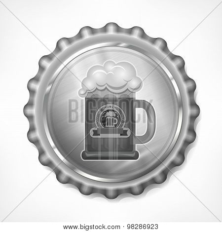 Bottle Cap With Beer Mug