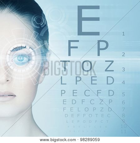 Young and attractive woman from future with the laser hologram on her eyes (collage about ophthalmology and eye scanning technology) poster