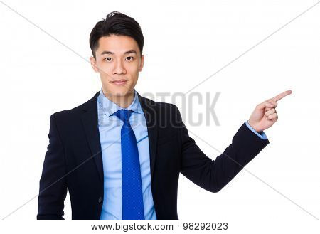 Asian young businessman with finger point up
