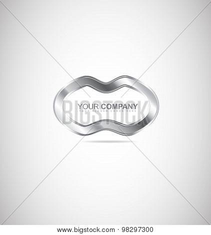 Abstract Metal Silver Logo