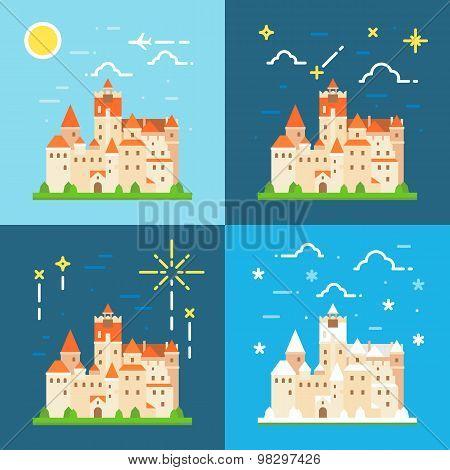 Bran Castle Germany Flat Design
