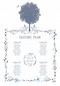 Wedding Seating Chart. Includes Tables List, Tree, Birds and Floral Frame. Vector Illustration with Flat Design. poster