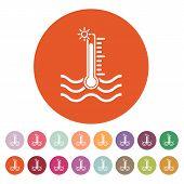 The warm water temperature icon. Hot liquid symbol. Flat Vector illustration. Button Set poster