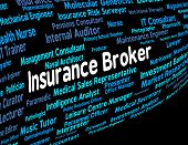 Insurance Broker Indicating Contracts Contract And Insures poster