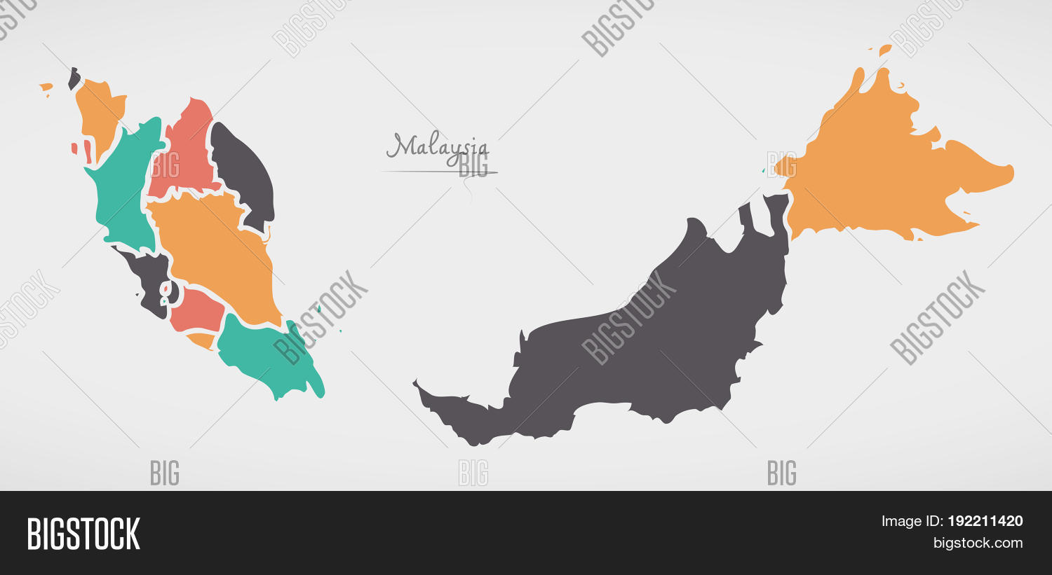 Picture of: Malaysia Map States Image Photo Free Trial Bigstock