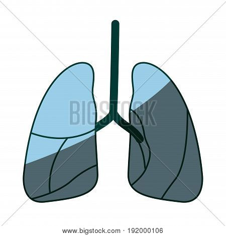 blue color shading silhouette respiratory system vector illustration