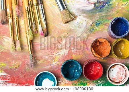 Painting paint dirty composition brushes leisure objects