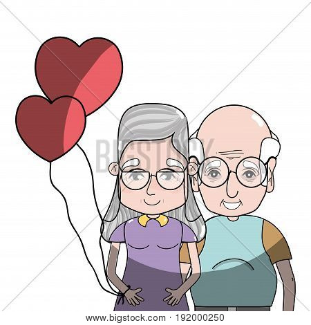 old coupe people with glasses and hairstyle vector illustration