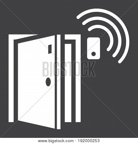 Door sensor solid icon, security and alarm, vector graphics, a glyph pattern on a black background, eps 10.