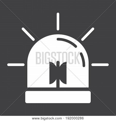 Alarm Flasher solid icon, ambulance and police, vector graphics, a glyph pattern on a black background, eps 10.