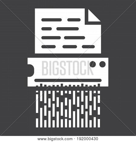 Document shredder solid icon, destroy file and confidential, vector graphics, a glyph pattern on a black background, eps 10.