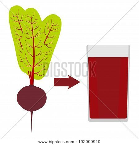 Fresh beets with tops, and a glass of beet juice around. The arrow in the direction from the beet to juice. Vector illustration in flat style.