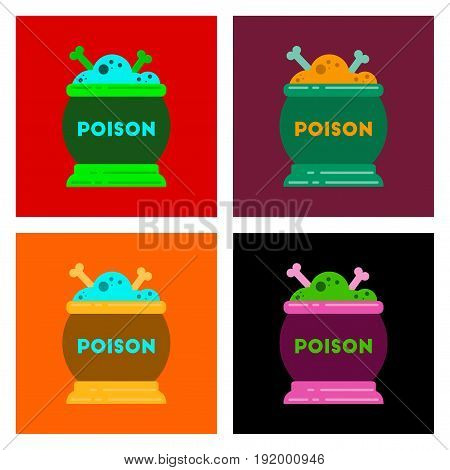 assembly of flat icons halloween potion cauldron