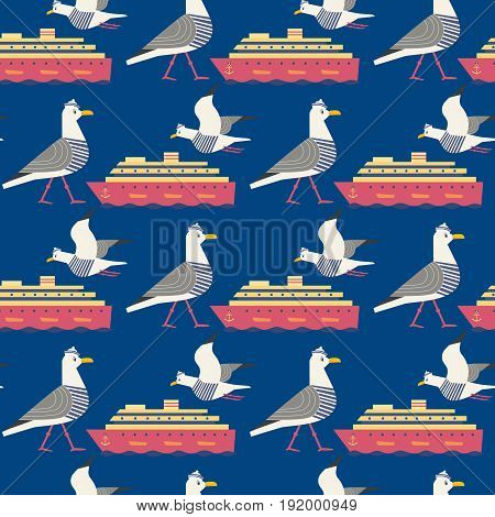 Maritime seamless pattern. Seagull nautical symbol. Freehand drawn cartoon sailing sign. Vector Seashore summer marine element. Template cruise ship background for textile packaging print projects