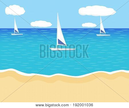 Seascape with the sailboats floating on the waves. Catboat at sea. The shore three sailboats. Simple Vector illustration.