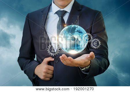 Businessman Holding A Global Financial Market.