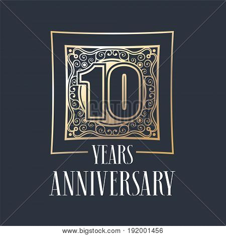 10 years anniversary vector icon logo. Graphic design element with golden frame and number for 10th anniversary decoration