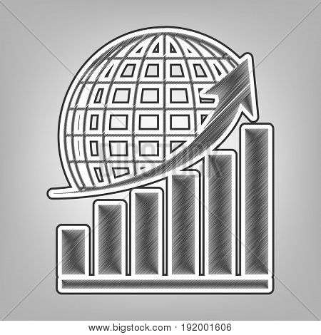 Growing graph with earth. Vector. Pencil sketch imitation. Dark gray scribble icon with dark gray outer contour at gray background.