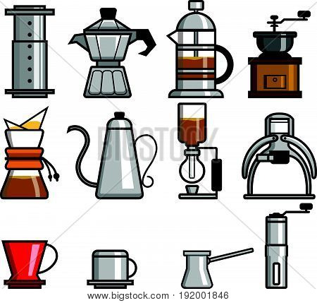 Vector collection set of coffee manual brewers